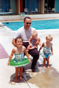 Kathy, Grady, Patrick and Betsy Kane at the Cowhouse Motel in Killeen, Texas. Grandpa and Grandma Galligan came from Minnesota to visit us and we all got to go swimming at their hotel pool. June 1965.