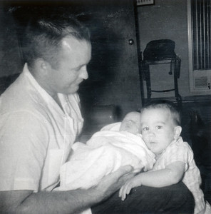Grady Kane with John (13 months) and Kathy (1 week). June 1962.