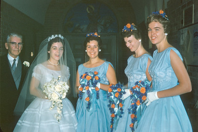 Bridesmaids, bride, father