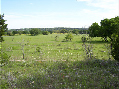 April 11-19, 2007; trip to Bandera, Texas, for Class of 1951 High School Reunion at Flyin L Guest Ranch.  About 60 classmates, spouses, and friends were in attendance.  Another view of the upper farm land from the Oakalla Road, 4-15-07.