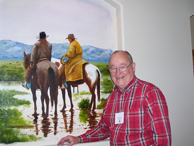 April 11-19, 2007; trip to Bandera, Texas, for Class of 1951 High School Reunion at Flyin L Guest Ranch.  About 60 classmates, spouses, and friends were in attendance.  Grady Kane standing by painting inside our fancy room at the Flying L.