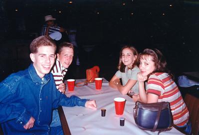 Chris Giacomazzi, Jason Matthews, Beth Tate and Jamie Cole. Celebrating Cindy Kane's August 6th birthday, Denison, Texas, August 10, 1998