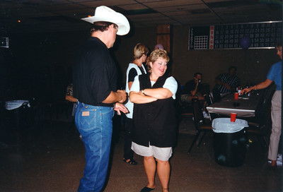 Tim Quintana and Cindy Kane. Celebrating Cindy Kane's August 6th birthday, Denison, Texas, August 10, 1998