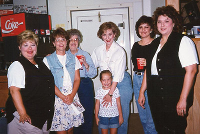 Cindy, Bettianne, Daruthye, Cheryl, Caroline, Becky Cole and Kelly. Celebrating Cindy Kane's August 6th birthday, Denison, Texas, August 10, 1998