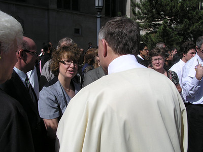 Oct 9, 2010, Denver Archdiocese Cathedral, Gathering outside of Church for picture opportunity with Archbishop Chaput.
