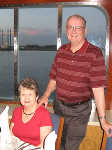 Panama Canal Cruise, Thursday, Feb 2nd, on board Galaxy.  Orion Restaurant, Deck 5, Aft.  Casual Dining first night on board - Arnie and Sue Cardinal.