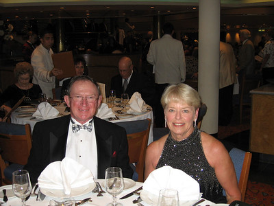 Panama Canal Cruise, Friday, Feb 3rd, on board Galaxy.  Orion Restaurant, Deck 5, Aft.  First Formal Dining night - Tom and Cathy Ament.