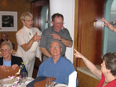 Panama Canal Cruise, Thursday, Feb 2nd, on board Galaxy.  Orion Restaurant, Deck 5, Aft.  Casual Dining first night on board - Gerald and Ruth Drew; Tom and Cathy Ament; and Sue Cardinal.