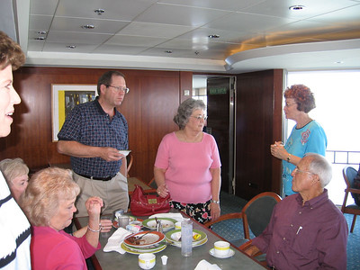 Panama Canal Cruise, Thursday, Feb 2nd, on board Galaxy.  Oasis Cafe & Grill, Level 11, Aft,  where some of the group is discussing our next move:   Peggy McCampbell; Judy Crews; Richard and Margaret Moody); Don and Pat Benz; and Mary Clare Kane.