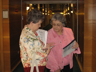 Panama Canal Cruise, Thursday, Feb 2nd, on board the M/X Galaxy.  Sue Cardinal and Mary Clare Kane checking out the card keys to their rooms, #4096 and #4098.