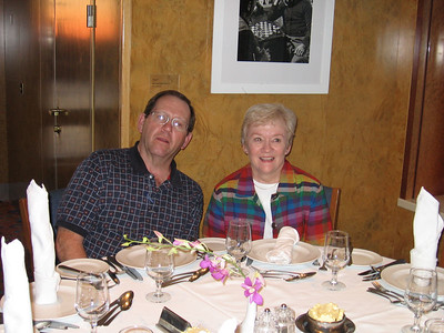 Panama Canal Cruise, Thursday, Feb 2nd, on board Galaxy.  Orion Restaurant, Deck 5, Aft.  Casual Dining first night on board - Don and Pat Benz.