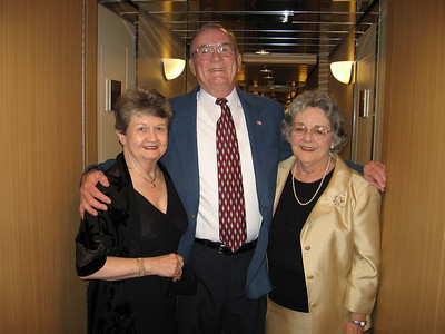 Panama Canal Cruise, Friday, Feb 3rd, on board Galaxy.  Orion Restaurant, Deck 5, Aft.  First Formal Dining night - Arnie and Sue Cardinal and Mary Clare Kane.