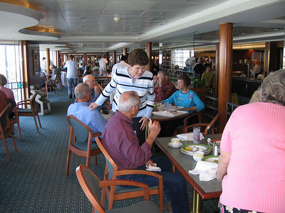 Panama Canal Cruise, Thursday, Feb 2nd, on board Galaxy.  Oasis Cafe & Grill, Level 11, Aft, where they had a great buffet line for breakfast and lunch.  Some of the group gathered for lunch:  J.C. and Peggy McCampbell; Gerald Drew; Mal and Judy Crews; Richard and Margaret Moody (hidden behind Mary Clare); and Mary Clare Kane (with her back to you).