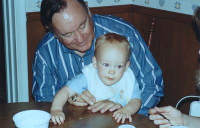 Grady Kane with his grandson, Ryan Roth, March 1989, Lockwood, CA