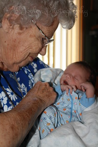 RJ and Great Grandmother Lois, 94 - visiting with him at 1 week old, born May 9, 2009.