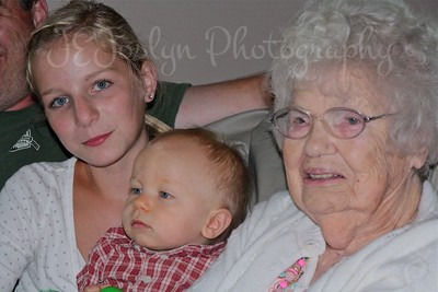 At Amy's, August 2011, Rylee's birthday, GD1, GS2 and GGmother Lois Pryor Joslyn