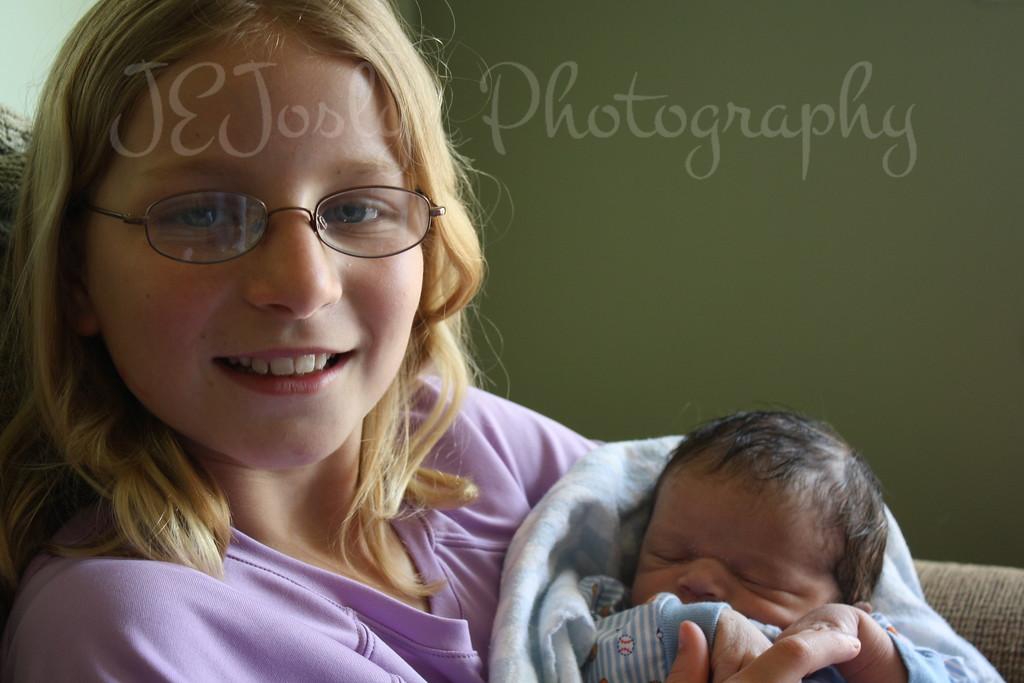 RJ and GD1 - visiting with him at 1 week old, born May 9, 2009.