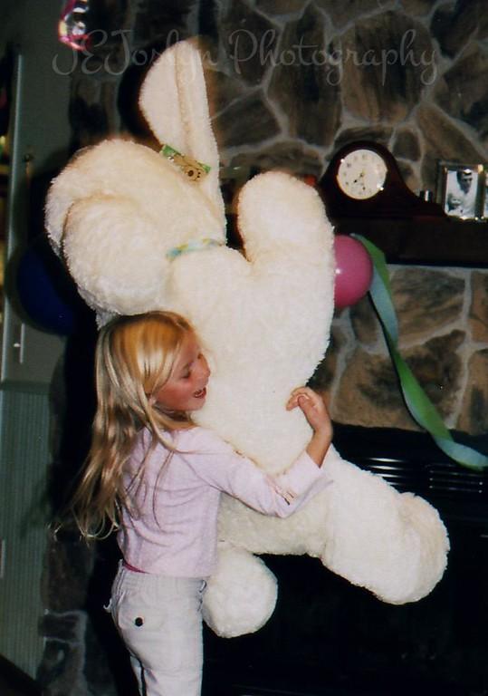 P holding Big Dog, P's 7th birthday, 10-2005