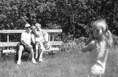 Great River Bluffs State Park, Winona, Minn.  Granddaughter P, is taking photo, I'm photographing her.  June, 2005, 6 1/2 years old.