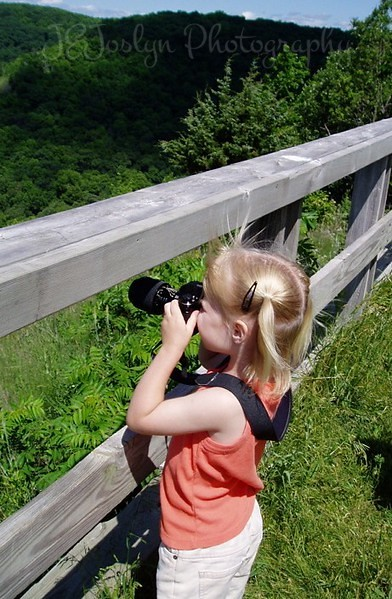Great River Bluff State Park, Winona, Minnesota, June, 2005. Little lady as photographer is, G 5 1/2.