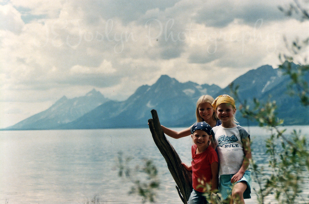My son's three girls, Lewis Lake, WY, view of The Grand Tetons, 2007 Yellowstone trip.
