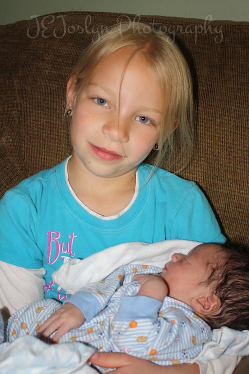 RJ and GD3 - visiting with him at 1 week old, born May 9, 2009.