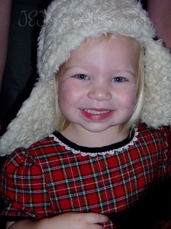 Fancy Hat, cute little girl, December 2003.