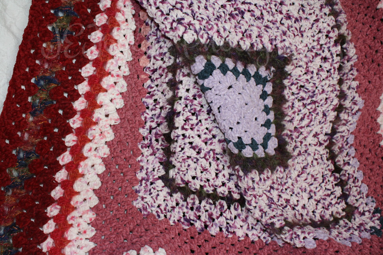 Blanket for GD4, pink granny square motif.  I made it myself-Grandma Hat.
