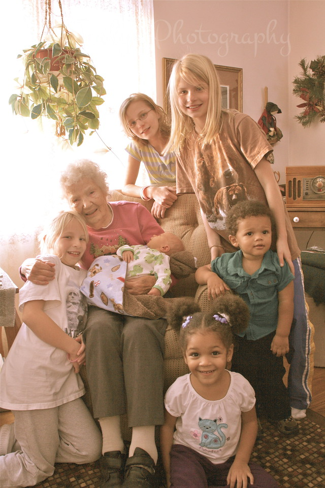 Great Grandmother Lois and all of her 6 Great grand children.  Thanksgiving Day, 2010.