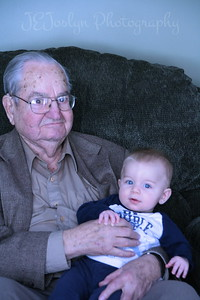 Visiting at Matt's to see recent baby, Roman.  February 17, 2013, Allen Sr, Great GrandPa killmer, Roman, Carly