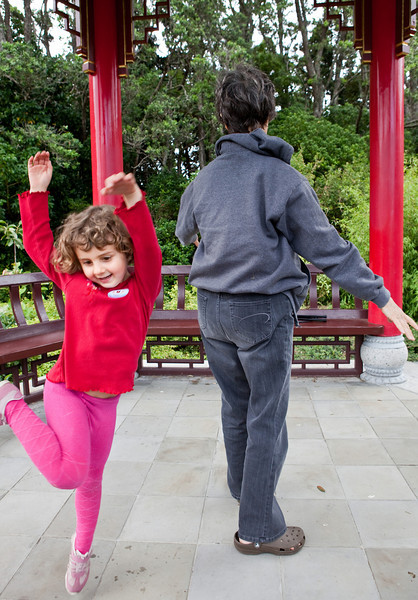 January 23, 2010:  Dancing in an Asian pavilion at a park, New Plymouth, NZ.