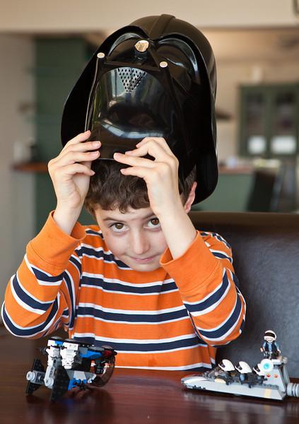 January 25, 2010:  Darth Vader, removing mask, Oakura, NZ.