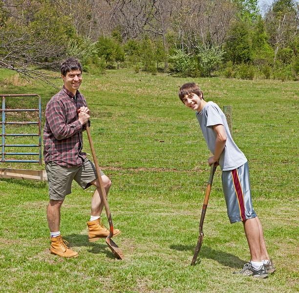 Planting apple trees at farm, April 21, 2011.