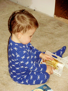 Joey reading one of Mark's old books