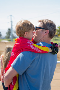 A little comforting from dad. You can't win every race.