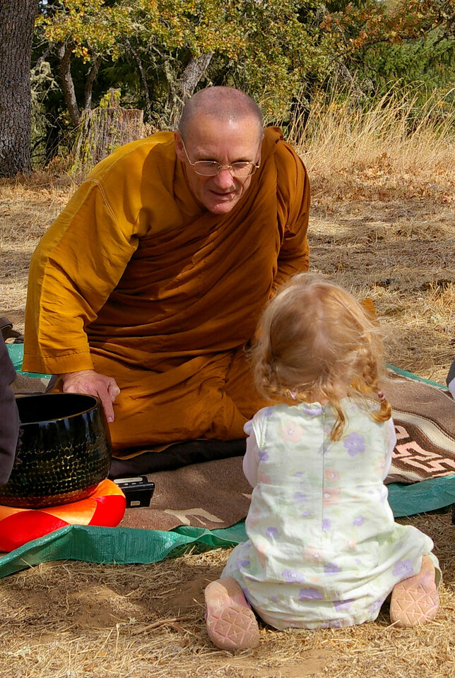 Natalie saying hello to Ajahn Pasanno at the Hermatige picnic