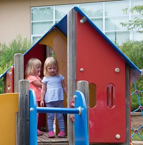 Annika and Elise at Armatage Playground - August 9, 2015