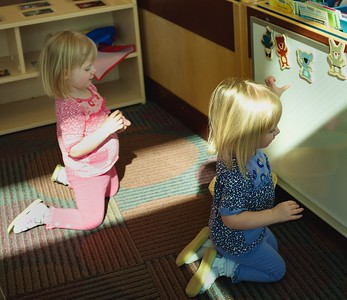 Annika and Elise at the Library - March 28, 2015