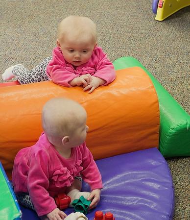 Elisa and Annika - Grandparents' Day at Montessori School