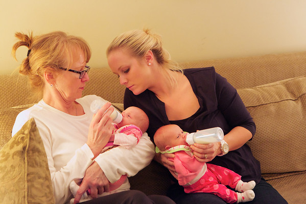 Elise and Annika at Grandma Kathy's for the First Time