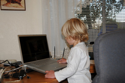 Now it is off to work on what he calls his booter. Close to computer he will soon have the proper pronunciation down pat.