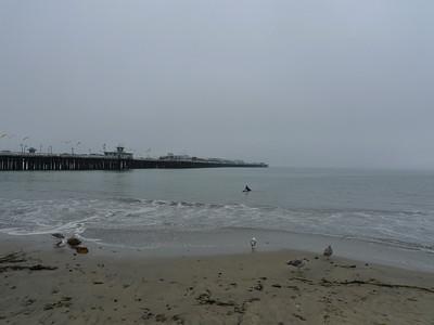 The Santa Cruz Municipal Wharf with a surfer dude in the water.