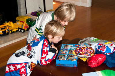Grant and Saxon looking at the Lego box