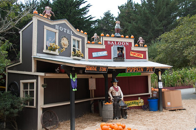 The general store and saloon decorated for Halloween.