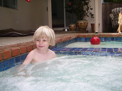 Lounging in the hot tub.