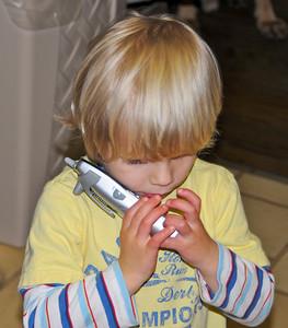 Making a phone call.