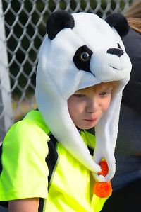 Saxon wearing his Panda hat