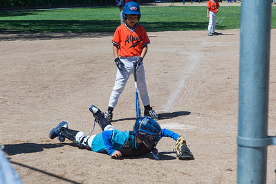 Grant dives for a errant pitch