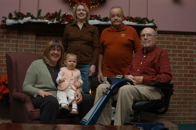 Five generations, Karen (Tromley) Chandler, Meadow Sepke, Dove Rule, Ed Tromley, Durwin Tromley.