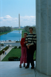 Karen Marie (Tromley) Chandler with her daughter Dove Marie at the Lincoln Memorial, Washington, D.C.